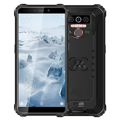 73HA73 Teléfono Móvil WP5 8000mAh IP68 a Prueba de Golpes Smartphone Resistente Android 9.0 Cámara Triple Identificación de Rostro/Huella Digital 5.5'4GB 64GB Teléfono Móvil,Black