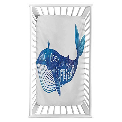 """Whale Fitted Crib Sheet,Kind of Ocean is My Best Friend Quote with Whale Fish Paintbrush Artsy Picture Microfiber Silky Soft Toddler Mattress Sheet Fitted,28""""x 52""""x 8'',Baby Sheet for Boys Girls"""