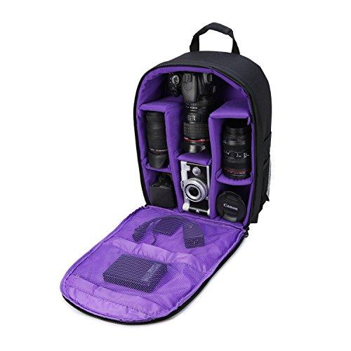 Kameratasche, Kamerarucksack, wasserdicht, 40,6 x 33 x 12,7 cm, mit Regenschutz für DSLR-Kameras, Objektiv, Stativ und Zubehör (lila, groß)