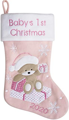 Hearts Sign Babys First Christmas Stocking 2020 | My First Christmas Baby Boy and Baby Girl | Newborn Stockings Christmas Ornaments | Newborn Christmas Decor (Pink)