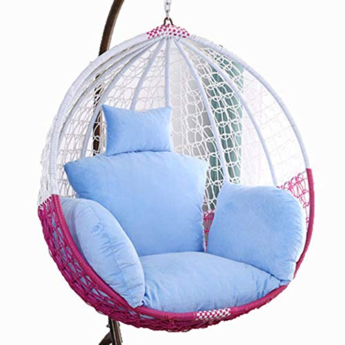 Egg Chair Cushion Only, Hanging Swing Chair Seat Cushion Replacement, Thicken Hanging Hammock Chair Cushion with Headrest and Armrests, Outdoor Garden Chair Pads Blue