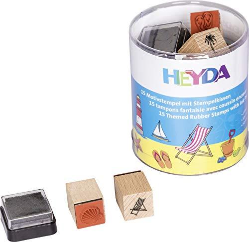 Heyda 204888490 Heyda 204888490 Stempel-Dose (Urlaub) Motivgröße: ca. 1,5 x 1,5 cm , 15 Holz-Stempel