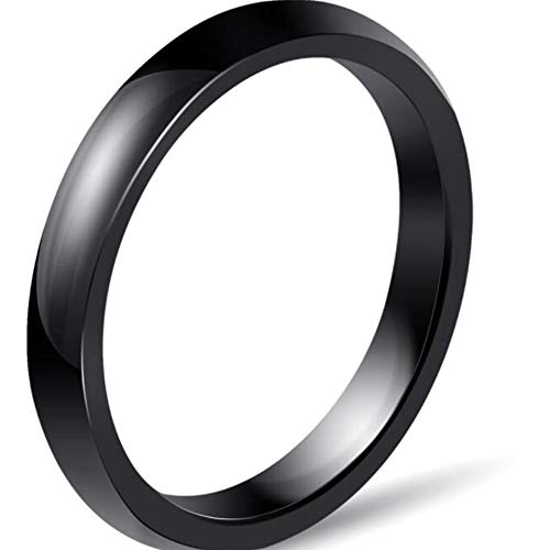 JUDE 3mm White Ceramic Plain Simple Classical Wedding Band Stackable Ring (Black, M)