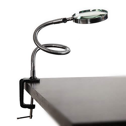 HD Ayudas para la visión- Lupa, Lupa LED Manguera de Metal Manguera Mesa de Escritorio Lámpara de Lectura Luz con Pinza 5X 100mm (Color: Plata, Ampliación: 5X) Código de Productos básicos: BDSR-1