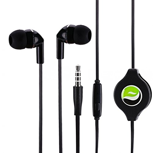 Premium Sound Retractable Headset Dual Earbuds w Microphone for iPhone SE, 6 6S, 6 and 6S Plus, 5S 5C 5 5G 4S (All Carriers Including AT&T, T-Mobile, Sprint, Verizon, Straight Talk, Unlocked)