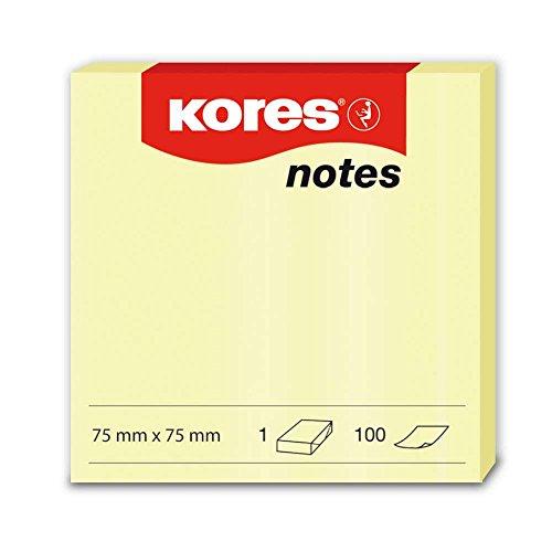 Kores zelfklevende notities, 75 x 75 mm, 12 blokken met elk 100 vellen, geel