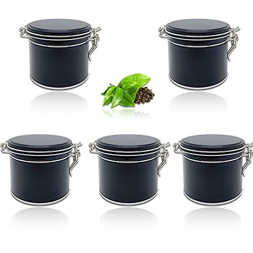 Perfekto24 Lot de 5 boîtes à thé avec fermeture à étrier dans les couleurs noires avec 5 étiquettes – Boîte de conservation pour thé en vrac 150 g – Boîte hermétique