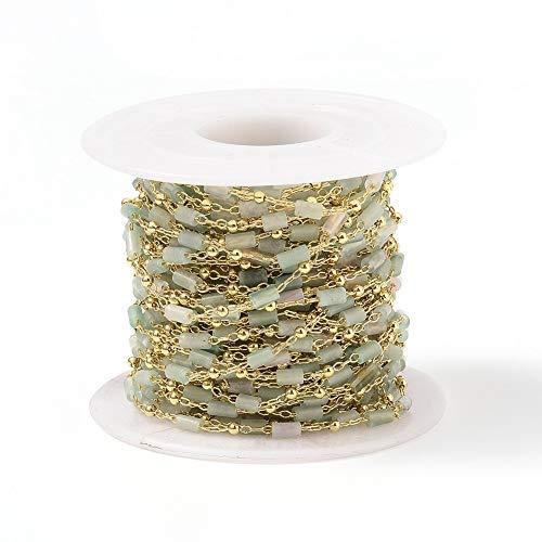 Airssory 10 metros de ágata natural de cristal hecho a mano con cuentas de cadena para hacer joyas, decoración de bolsas de sol