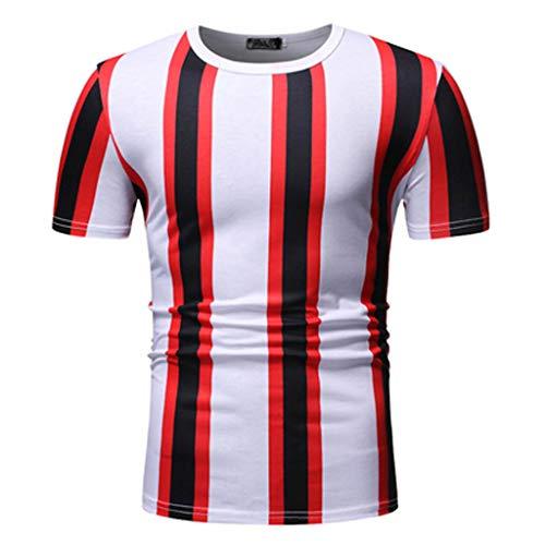 Tyoby Herren Freizeit T-Shirt,Original Hipster Nähen Revers Kurzärmliges Oberteil,Perfect Bequem(rot,XL)
