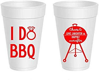 Mandeville Party Company I Do BBQ, Wedding Shower, Styrofoam Cups (10 Cups)