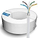 Cavo Esterni 100m Cavo Ethernet 100 metri | FTP 23AWG Gigabit Schermato Anti-jamming Esterno Cavo di Installazione Resistente Alle Intemperie | CAT6, Nucleo in Rame, RJ45 | Colore Bianco (100 Metri)