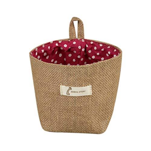 Ototon - Mini bolsa de almacenamiento colgante de tela, cesta de ropa multifunción, organizador para casa, armario, dormitorio rojo e