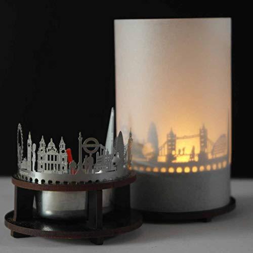 13gramm London-Skyline Windlicht Schattenspiel Premium Geschenk-Box Souvenir, inkl. Kerzenhalter, Kerze, Projektionsschirm und Teelicht