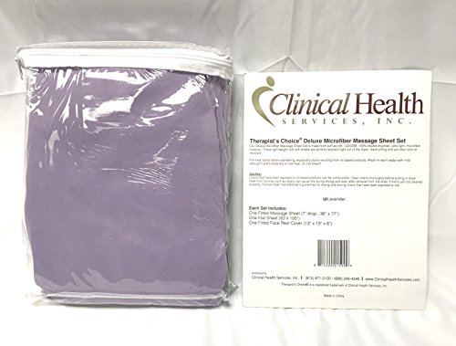 Therapists Choice Premium Deluxe Microfiber Massage Sheet Set, 3pc Set (Lavender)