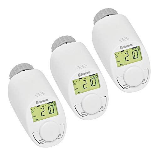 Eqiva Bluetooth Smart Elektronik-Heizkörperthermostat, 3er-Set, mit App-Steuerung