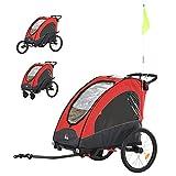 HOMCOM Remolque Infantil 3 en 1 para Bicicleta Carrito para Correr de 2 Plazas para Niños de +6 Meses Plegable Ruedas Giratorias y Manillar Ajustable 150x85x107 cm Rojo
