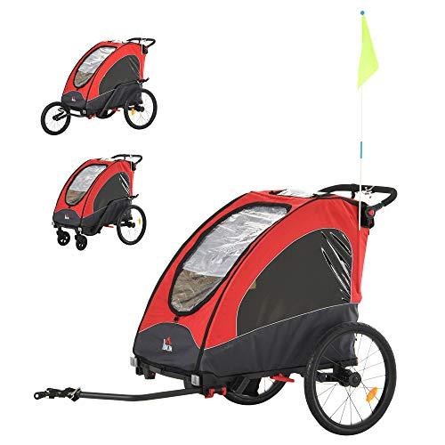 HOMCOM Remolque Infantil 3 en 1 para Bicicleta Carrito para Correr de 2...