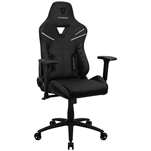 ThunderX3 TC5 Spielstuhl, Gaming Stühle, Game Chair PC, Gamingstuhl bis 150kg, Ergonomischer Gaming Stuhl, Schreibtischstuhl (Alles Schwarz)