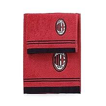 AC Milan - Juego de toallas de rizo del ACMilan, 1 toalla de 60x 100 cm y 1 toalla de 40x 60 cm