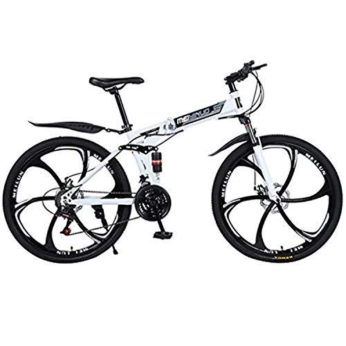 Zerotwo Klappräder 26 Zoll 21-Gang Scheibenbremsen MTB,Erwachsene Fahrrad Falt-Fahrrad Klapprad Faltrad Mountainbikes Citybike Cityräder Klappfahrrad Folding Bike Rennräder (Weiß)