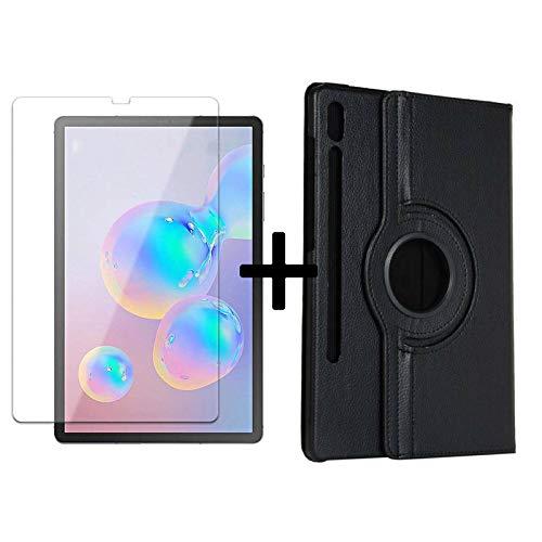 Lobwerk 2in1 Set für Samsung Galaxy Tab S6 10.5 T860 T865 Tablet mit 360° Hülle + Schutzglas Etui Cover Schutzfolie Schwarz