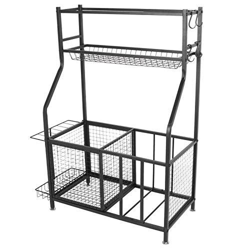 Wakects - Soporte de almacenamiento para equipamiento deportivo, con 2 cestas grandes y 1 cesta pequeña, 4 ganchos, utilizado para gimnasios, escuelas, salas de equipamiento