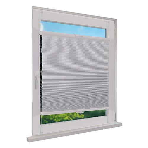 Fensterdecor Klemmfix Thermo Waben-Plissee, Doppel-Plissee mit Spannfeder, Honigwaben-Plissee ohne Bohren in Weiß, lichtundurchlässig und Blickdicht, 40 x 130 cm