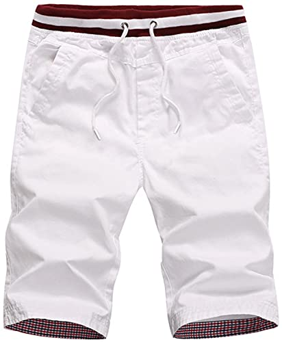 QPNGRP Mens White Shorts Casual Slim Drawstring Shorts Elastic Waist 36