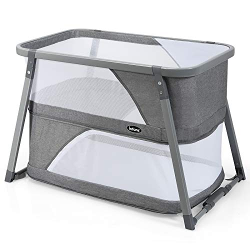 INFANS Baby Foldable Travel Crib, 3 in 1 Convertible Bassinet/Rocking Bed/Playard for Newborn Infants Toddlers, Lightweight Installation-Free Bedside Bed with Side Zipper, Detachable Mattress, Grey