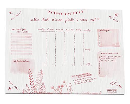 Eine der Guten Schreibtischunterlage A3 aus Papier zum Abreißen, rosa Aquarell Design für Mädchen, Teenies, Frauen, 30 x 42 cm, 25 Blatt Schreibunterlage Abreißblock, Recyclingpapier