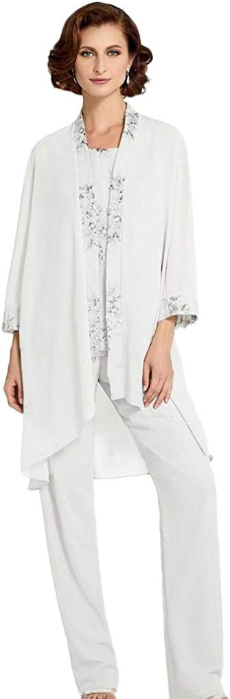 2 Pieces Mother of The Bride Lace Appliqued Pant Suits Long Sleeves Wedding Guest Dress with Jacket