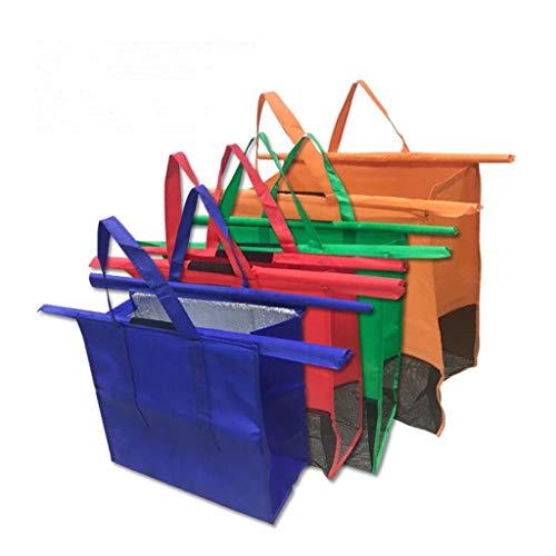 Trolley per la spesa, riutilizzabile, set di 4 sacchetti per il supermercato normale della spesa, borse per il carrello della spesa per la spesa calda
