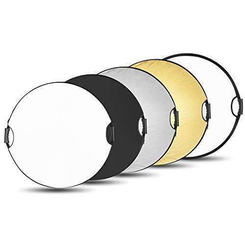 BDDFOTO 110cm 5-in-1 Rund Fotografie Faltreflektor Set Tragebar Diffusor Gold, Silber, Weiß, Schwarz und Transparent Reflektor mit Griff