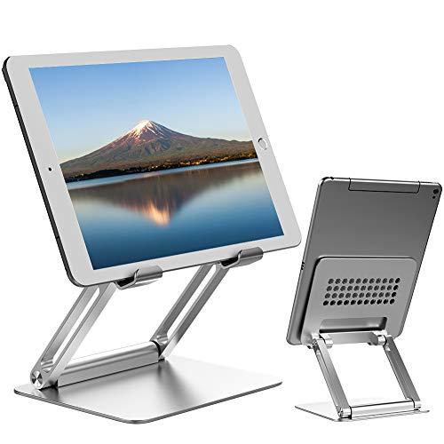 タブレット スタンド ipad スタンド 折りたたみ式 ホルダー 高さ角度調整可能 アルミ製 姿勢改善 人間工学設計 iPad/Kindle/Surface/Nintendo Switch機種に対応 4-13.3インチに対応(シルバー)