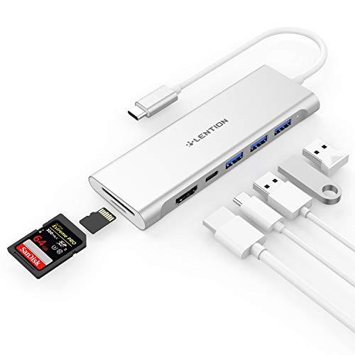 LENTION USB Type C ハブ CB-C36b 7in1 機能拡張 Micro SD / SDカードリーダー USB 3.0 3ポート 4K HDMI PD充電 USB-C 交換アダプタ MacBook Pro 13 15 16 (2016-2020 M1)、MacBook Air (2018-2020 M1)、New iMac、iPad Pro (2018-2021)、iPad Air 4 (2020)、Surface Pro 7 / Go 2 (サーフェス)、Chromebookなどのノートパソコン、タブレットPC対応 (シルバー)
