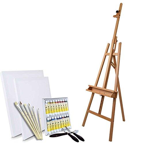 Artina Cavalletto per dipingere da Studio Barcelona - Legno di faggio + Set Colori Pittura e Accessori: 18 acrilici, 2 Tele, 5 pennelli 3 spatole - Kit Pittura Professionale