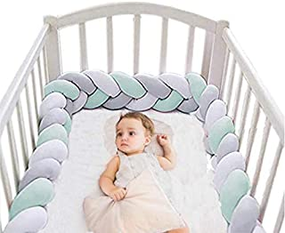 Baby Crib Bumper Plush Nursery Cradle Decor Knotted Braided Junior Bed Sleep Safety Bedside Padded Plush Cushion for Newborn Gift (158 inch)