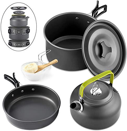 qtiwe 10piezas Cookware Kit Picnic Ollas Cocina camping Juego de vajilla para 2–3personas para camping Outdoor Senderismo Picnic BBQ, FDA Certificado, 2-3 Personen