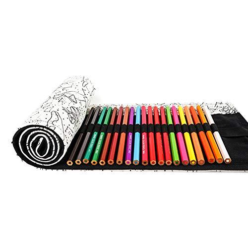 You&Lemon Stifterolle 72 Stifte Leinwand Pencil Wrap Roll up Stifterolle Buntstifte Bleistift Wrap