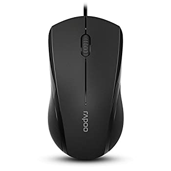 Rapoo Brand 3-Button Wired USB Optical Noiseless Mouse Computer Mouse with 1000 DPI Compatible with PC Mac,Desktop and Laptop  Black