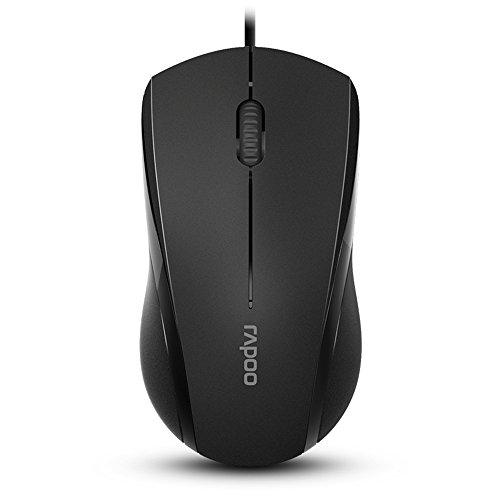 Rapoo Brand 3-Button Wired USB Optical Silent Mouse, Computer Mouse with 1000 DPI, Compatible with PC, Mac,Desktop and Laptop (Black)