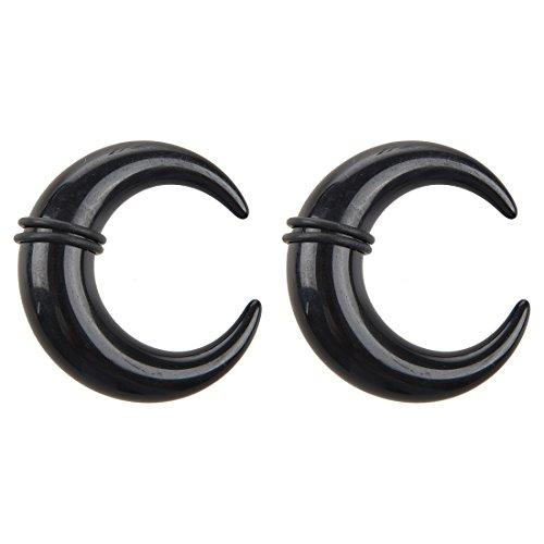 SODIAL 1 par Expansores Ampliador de la oreja de Auricula de cono Espiral Acrilico Colgadero de Caracol Bufalo- Negro, 14mm