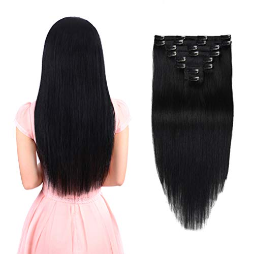 Real Clip in Hair Extensions Black 8 Pieces - Premium Womens Straight Double Weft Thick Remy Hair Extensions Clip in on Human Hair for Long Hair (16