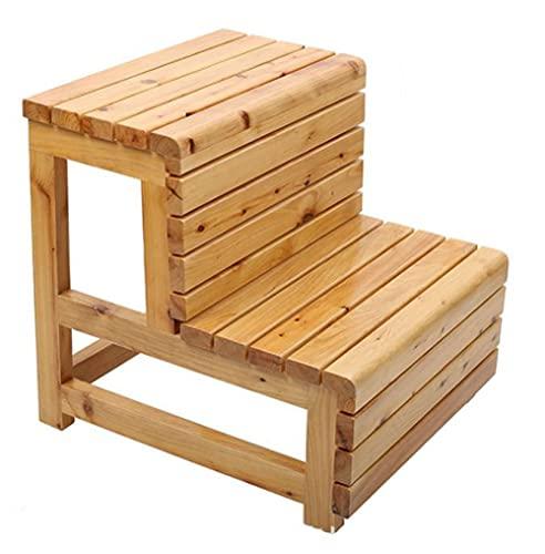 BERTY·PUYI Taburetes escalonados, sofá de Madera Reposapiés Banco Escalonado Taburete pequeño de Cedro Rectángulo Alfombra de Madera Taburete de Ducha Pedal Banco de Ducha-Wood Color