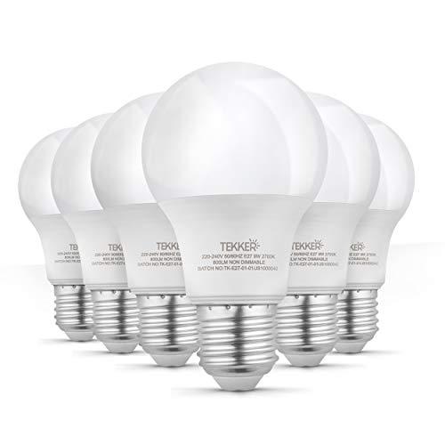 TEKKER® Premium E27 LED – 6 Stück – Warmweiss – 2700 K – 9W – 800 Lumen – 15.000 Stunden Lebenszeit – Energieklasse A+ – Ersatz für 60W Halogenlampen