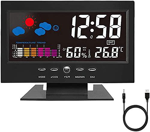 Sveglia Digitale da Comodino con Rilevamento del suono, LED con Stazione Tempo/LCD a Display/Temperatura e Data/Funzione Snooze 12&24h.