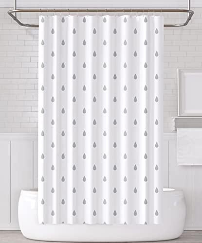 YOUNG DA - Duschvorhang Regentropfen, Duschvorhang-Set aus weißem & grauem Stoff mit Haken, schimmelfester, abwaschbarer & wasserdichter Duschvorhang für Badezimmer mit der Größe 72 x 72 Zoll