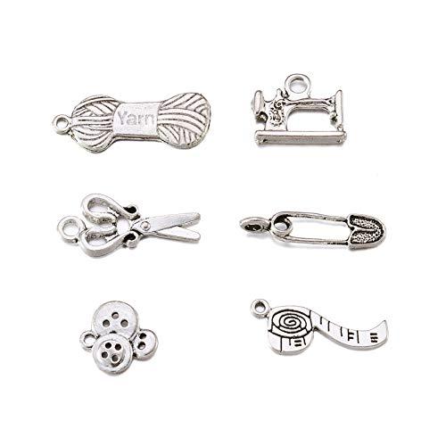 Craftdady 30 colgantes de aleación de plata tibetana para coser tejer, colgantes de metal, tijera, tubo, alfiler de seguridad, hendidura, botón, máquina de coser para hacer joyas