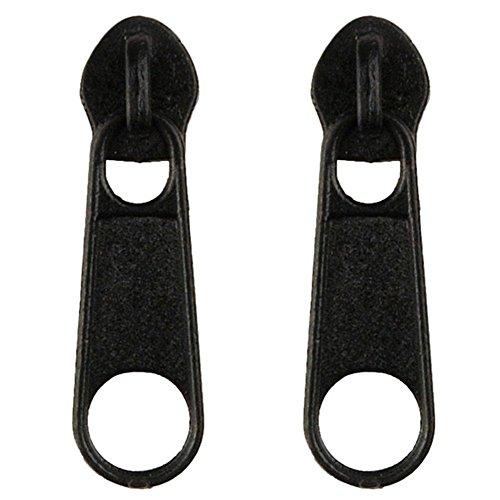 JOE COOL Stud Pendientes Cremallera (Negro) Fabricado con aleación de Zinc