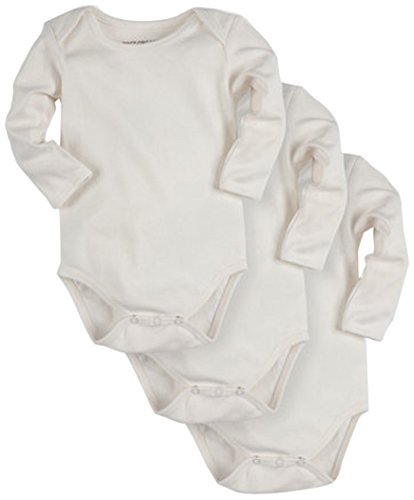 Pact Baby 3-Pack Long Sleeve, White, 0-3 Months